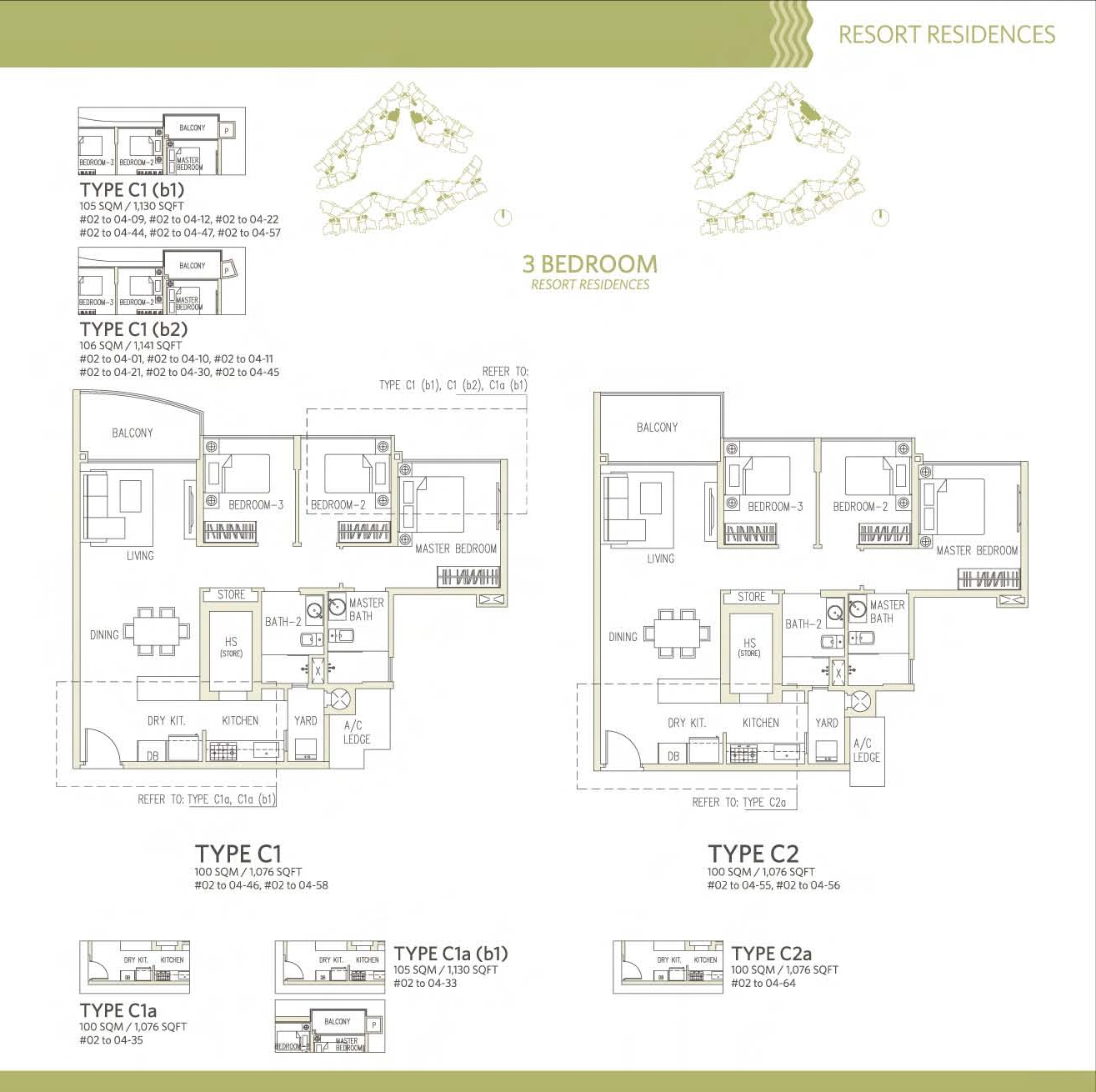 Canberra Residences 3 Bedroom Floor Plans Type C1, C2, C1(b1), C1(b2), C1a, C1b(b1), C2a