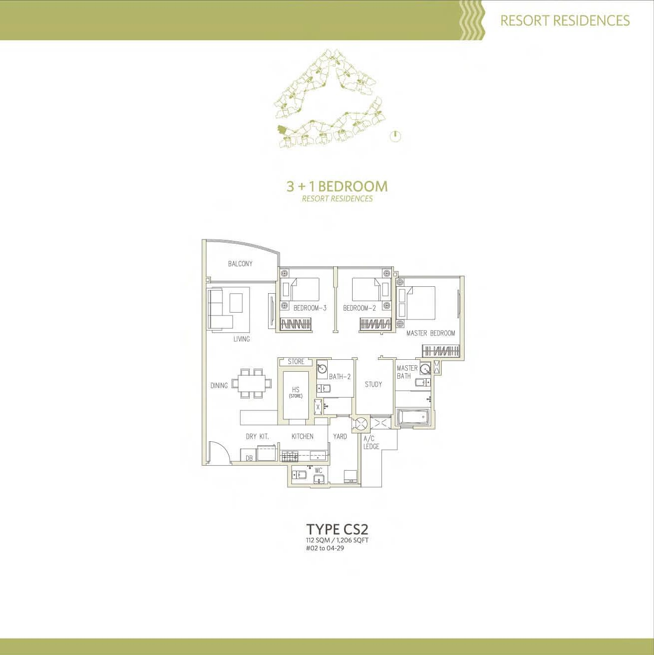 Canberra Residences 3 Bedroom + Study Floor Plans Type CS2