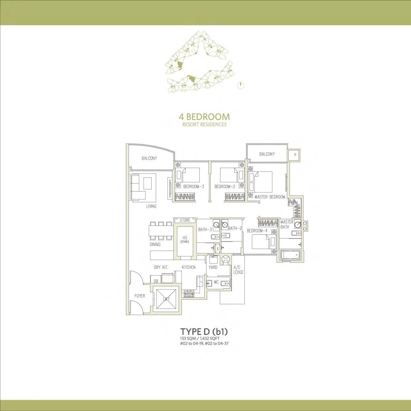 Canberra Residences 4 Bedroom Floor Plans Type D(b1)