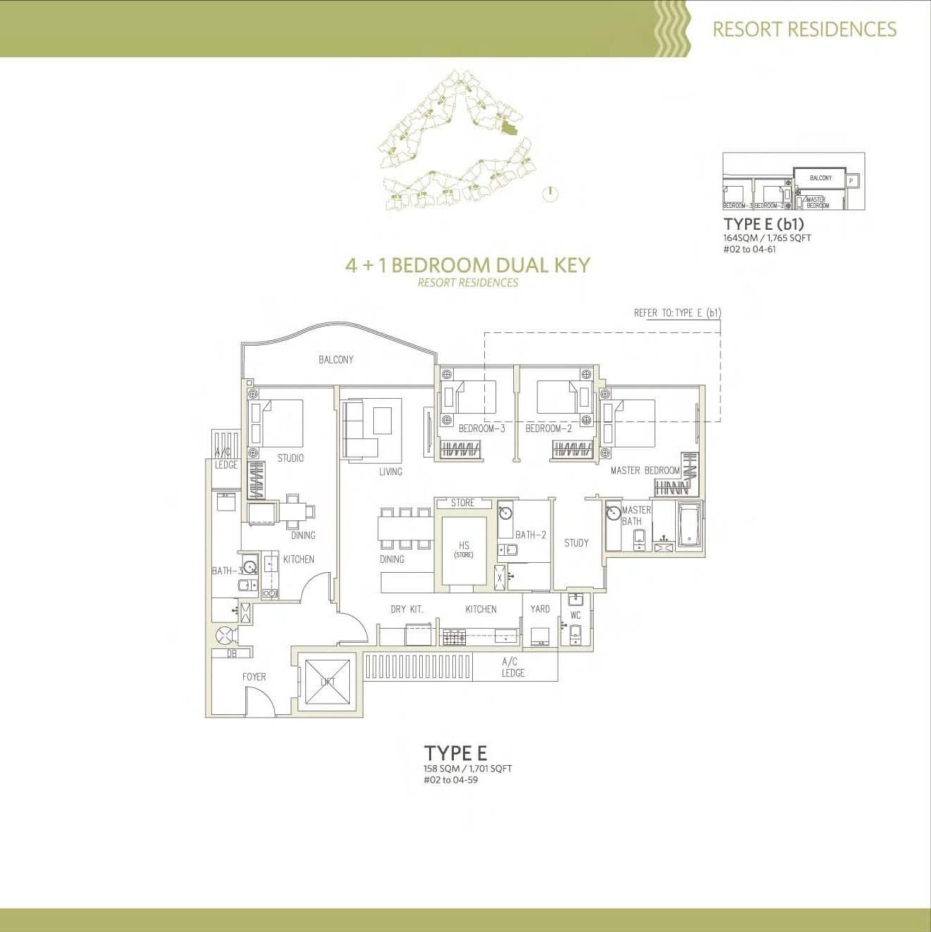 Canberra Residences 4 Bedroom + Study Dual Key Floor Plans Type E, E(b1)