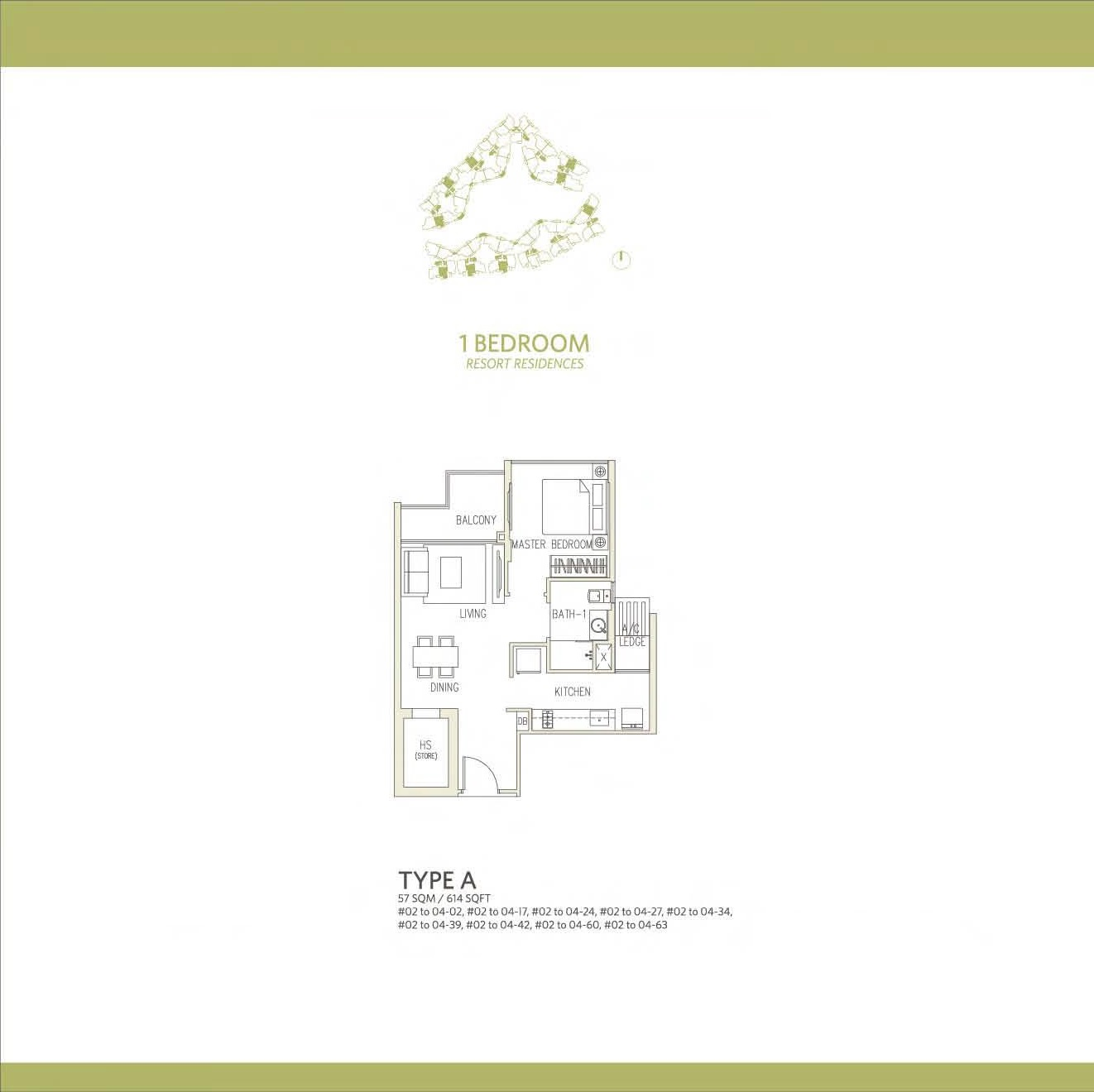 Canberra Residences 1 Bedroom Floor Plans Type A