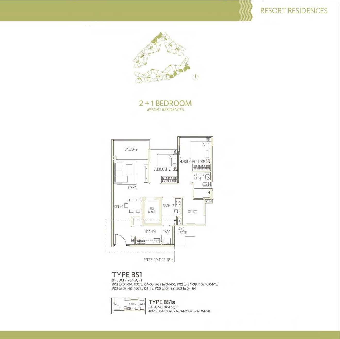 Canberra Residences 2 Bedroom + Study Floor Plans Type BS1, BS1a