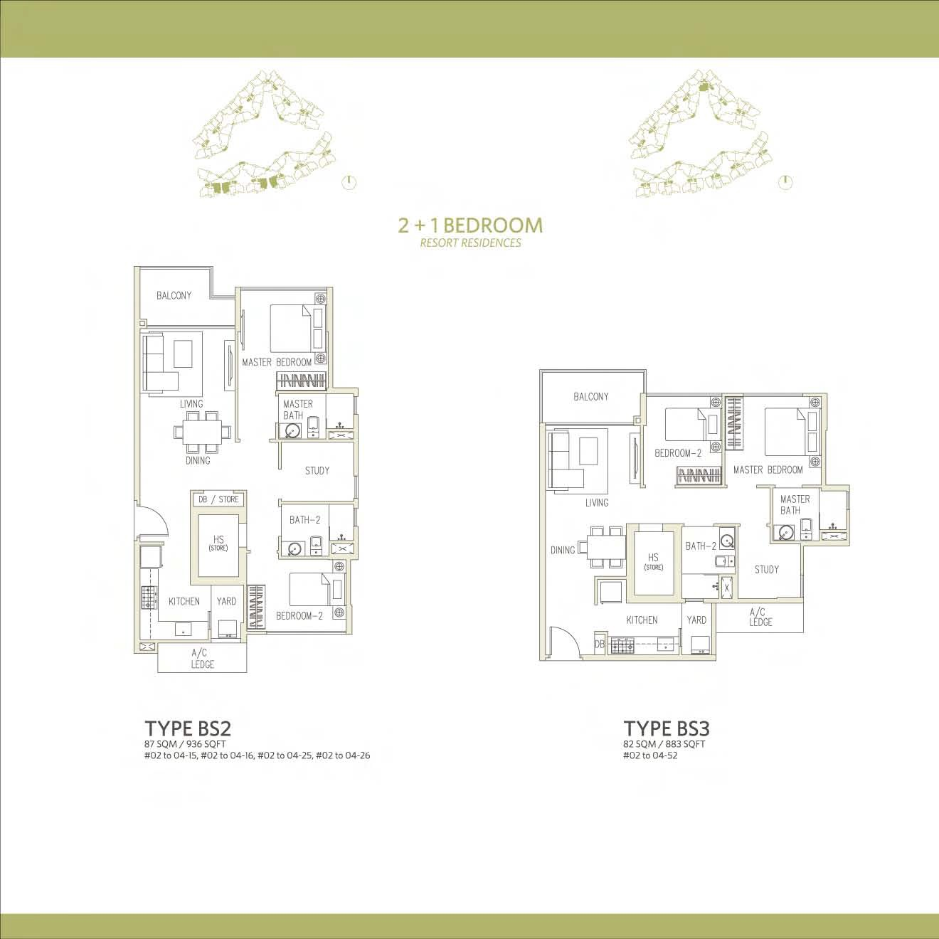 Canberra Residences 2 Bedroom + Study Floor Plans Type BS2 and BS3